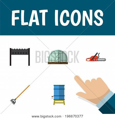 Flat Icon Dacha Set Of Tool, Hothouse, Hacksaw And Other Vector Objects