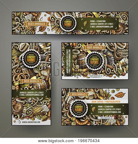 Cartoon colorful vector doodles Beer fest corporate identity set. Template design of banners, id cards, flyer
