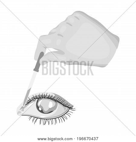Hand wrapping the medicine in the damaged eye. Medicine single icon in monochrome style vector symbol stock illustration .