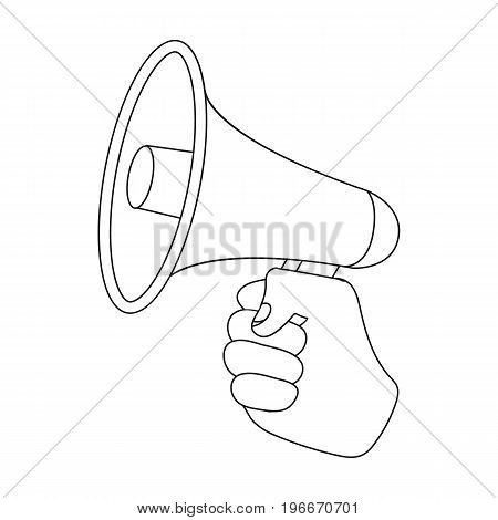 Speaker for voice enhancement. Megaphone in hand single icon in outline style vector symbol stock illustration .