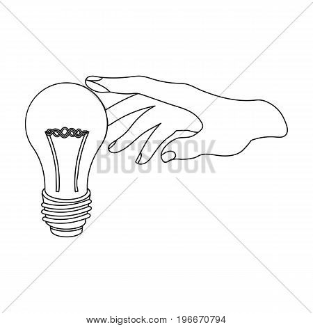 Replacement of an electric bulb. Incandescent lamp single icon in outline style vector symbol stock illustration .
