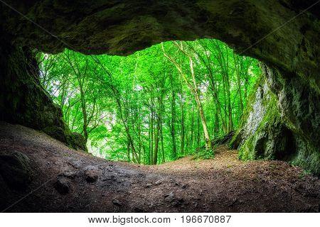 Small cave Certova Pec (Devil's furnace) in Slovakia