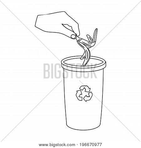 Emission of banana peel into the garbage can for waste. Rubbish and Ecology single icon in outline style vector symbol stock illustration .