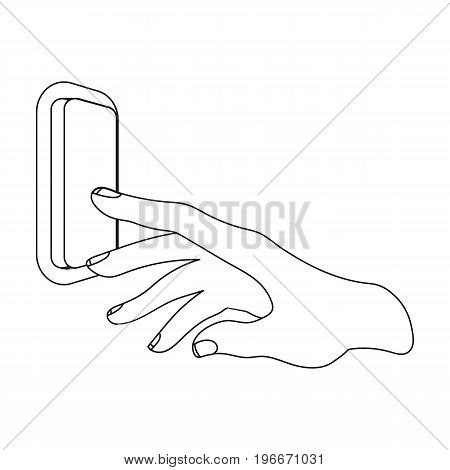 A hand that includes an electric switch. Push Button Switch single icon in outline style vector symbol stock illustration .