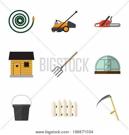 Flat Icon Farm Set Of Stabling, Cutter, Pail And Other Vector Objects