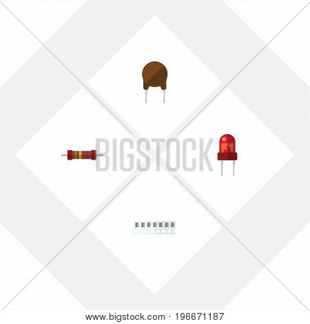 Flat Icon Device Set Of Memory, Triode, Resistance And Other Vector Objects