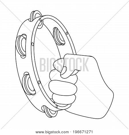 A tambourine that produces a melodic sound. Tambourine in his hand single icon in outline style vector symbol stock illustration .
