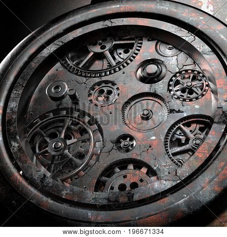 Rusty mechanism in the old clock. 3d illustration