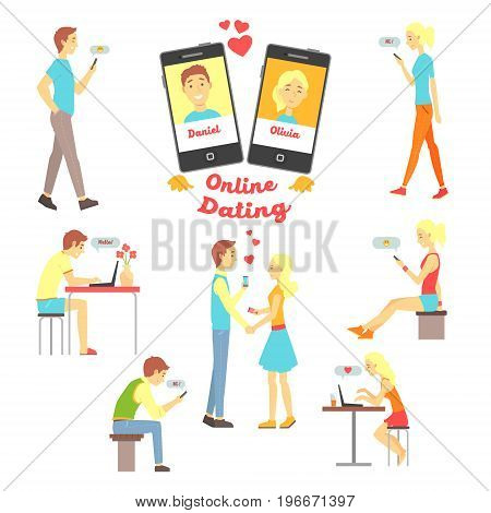 Online dating app, people finding love using dating websites and app on smartphones and computers set of vector Illustrations on a white background