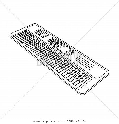 Keyboard electronic musical instrument. Synthesizer of melody single icon in outline style vector symbol stock illustration .
