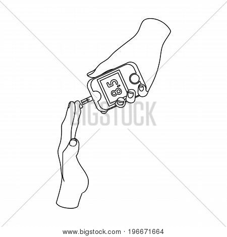 Measuring the level of sugar in the blood of a person with a Glucometer. Medicine single icon in outline style vector symbol stock illustration .