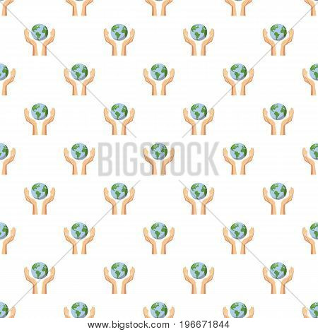 Hands holding globe earth pattern seamless repeat in cartoon style vector illustration