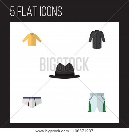 Flat Icon Garment Set Of Underclothes, Panama, Uniform And Other Vector Objects