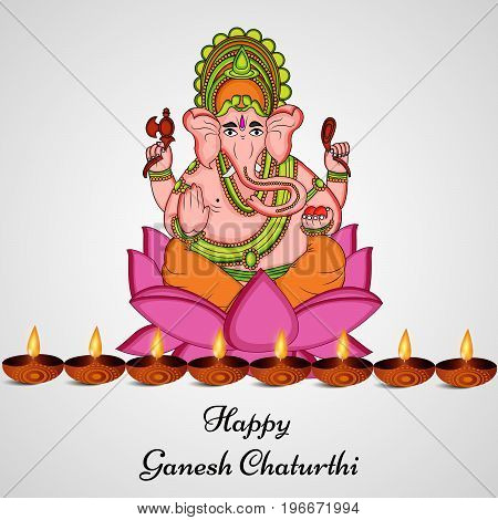 illustration of Hindu God Ganesh and light with happy Ganesh Chaturthi text on the occasion of Hindu Festival Ganesh Chaturthi