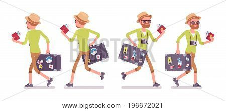 Tourist man with luggage, plane tickets running, wearing shorts and shirt, passenger hurry in airport registration, walking, Vector flat style cartoon illustration, isolated, white background