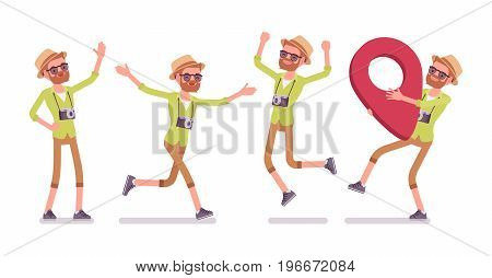 Tourist man positive emotions set, wearing shorts and shirt combo, holding red pin mark location, fond of traveling, inspiration. Vector flat style cartoon illustration, isolated, white background