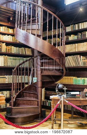 OPONICE SLOVAKIA - MAY 30: Spiral staircase at historical library in Chateau Appony on May 30 2017 in Oponice