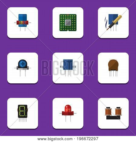Flat Icon Appliance Set Of Transducer, Resistance, Recipient And Other Vector Objects