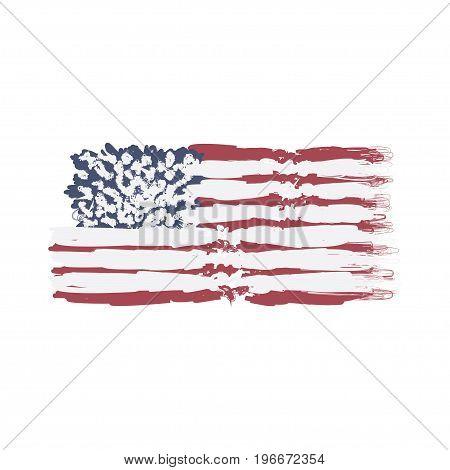 United States Of America Decorative Flag. Flat Vector Illustration Eps 10