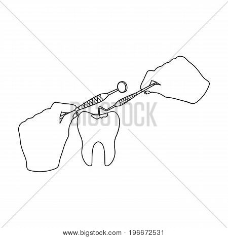 Manipulation, gesture of the hands of the dentist with the instrument over the damaged tooth. Stomatology single icon in outline style vector symbol stock illustration .