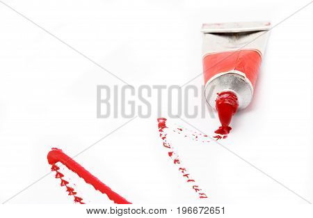 Red Water Color Paint Isolated On White Background