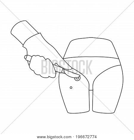 Dissection of a boil on the buttock of a man. Surgery single icon in outline style vector symbol stock illustration .