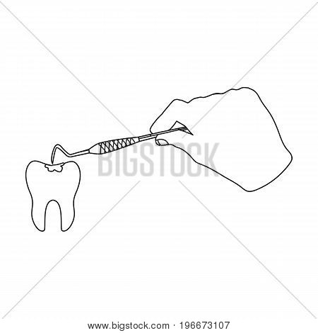Manipulation, gesture of the hand of the dentist with the instrument over the damaged tooth. Stomatology single icon in outline style vector symbol stock illustration .