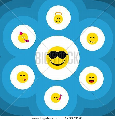 Flat Icon Emoji Set Of Delicious Food, Happy, Descant And Other Vector Objects