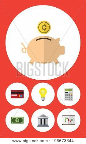 Flat Icon Incoming Set Of Greenback, Money Box, Bubl And Other Vector Objects