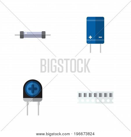 Flat Icon Appliance Set Of Memory, Transistor, Resistor And Other Vector Objects