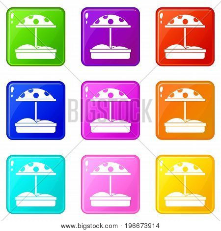 Sandbox with dotted umbrella icons of 9 color set isolated vector illustration