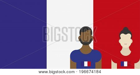 French Flag With Family Patriots. Flat Vector Illustration Eps 10