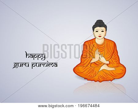 illustration of lord buddha with happy Guru Purnima text on the occasion of Guru Purnima festival in India