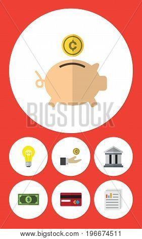 Flat Icon Finance Set Of Payment, Hand With Coin, Bank Vector Objects