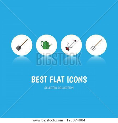 Flat Icon Farm Set Of Shovel, Hay Fork, Bailer And Other Vector Objects