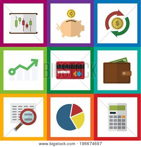 Flat Icon Gain Set Of Interchange, Payment, Calculate And Other Vector Objects