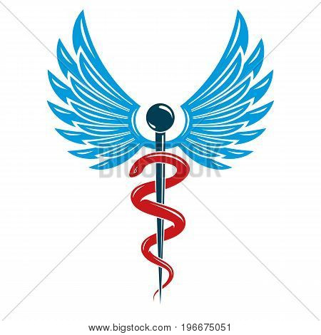 Caduceus medical symbol graphic vector emblem created with wings and snakes.