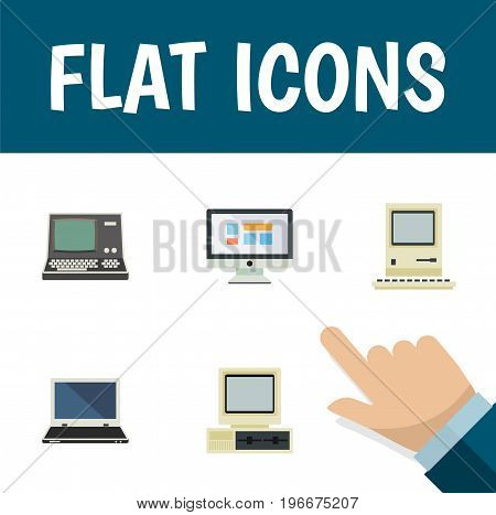 Flat Icon Computer Set Of Display, Technology, Computer And Other Vector Objects