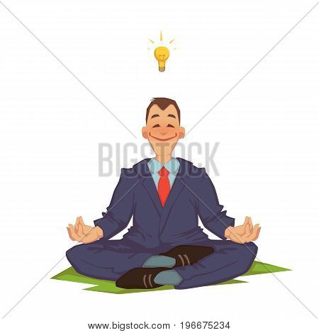 Vector illustration of happy careless businessman meditating.