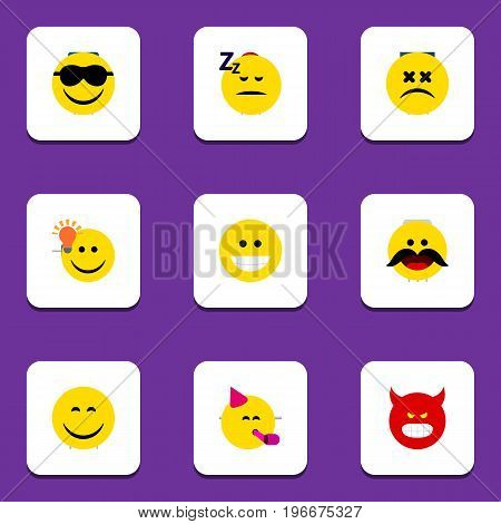 Flat Icon Expression Set Of Smile, Pouting, Happy And Other Vector Objects