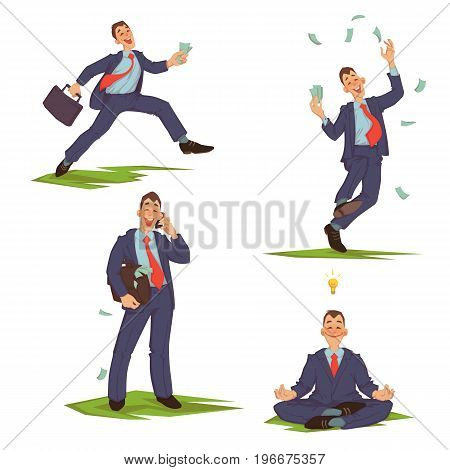 Vector illustration of businessman in formalwear running, spending money, talking phone and meditating.