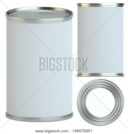 Metal tin can with white empty label: side, top and perspective view. 3d illustration. Packaging collection