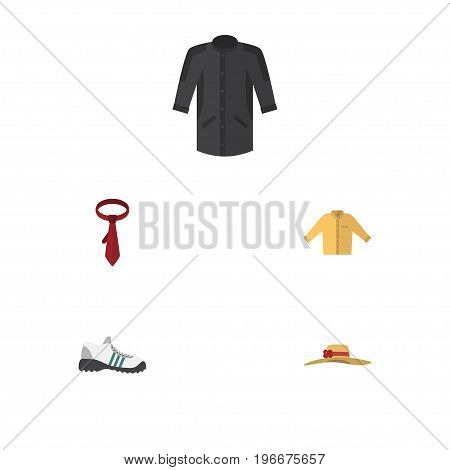 Flat Icon Clothes Set Of Sneakers, Uniform, Cravat And Other Vector Objects