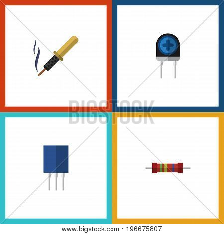 Flat Icon Electronics Set Of Receptacle, Repair, Resistance And Other Vector Objects