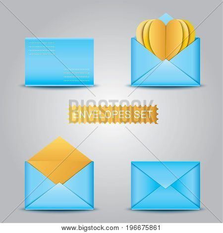 Realistic Blue envelopes and Card heart. envelope blank envelope. mock up envelope template