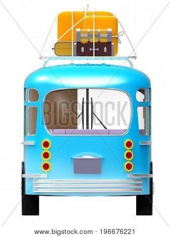 blue retro bus with roof rack luggage back view isolated on white. 3d illustration