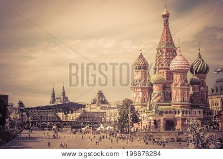 Cathedral of St. Basil in the Red Square in Moscow, Russia