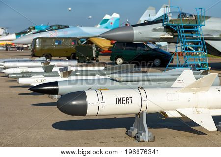 Moscow Region - July 21, 2017: Bombs and missiles for the russian air fighter at the International Aviation and Space Salon (MAKS) in Zhukovsky.