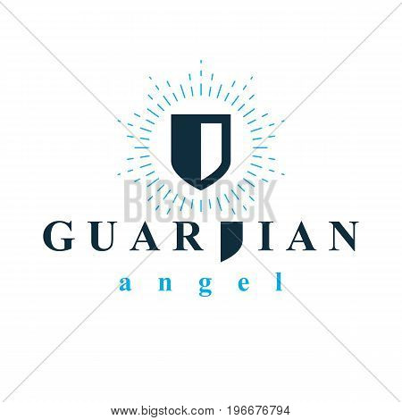 Shield vector graphic illustration safety and security metaphor symbol. Guardian angel vector abstract emblem.
