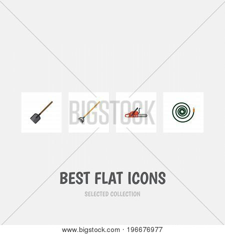 Flat Icon Farm Set Of Tool, Shovel, Hacksaw And Other Vector Objects